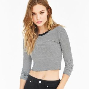New Urban Outfitters Striped Crop Long Sleeve Top